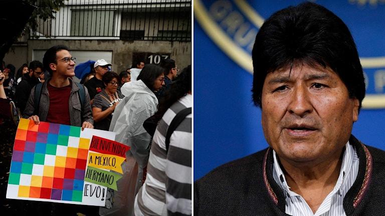 """Delad bild: Man med skylt som lyder *Välkommen till Mexiko broder"""" och Evo Morales."""