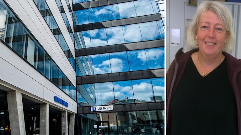 sjukhusbyggnad och Lena Serrander.