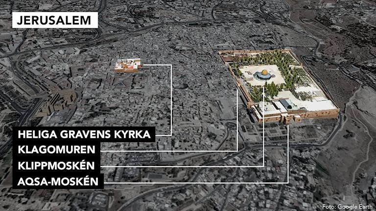 Karta över Jerusalems heliga platser