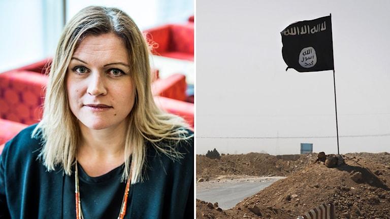 Bildkollage med Lisa Kaati och en flagga för Islamiska staten.