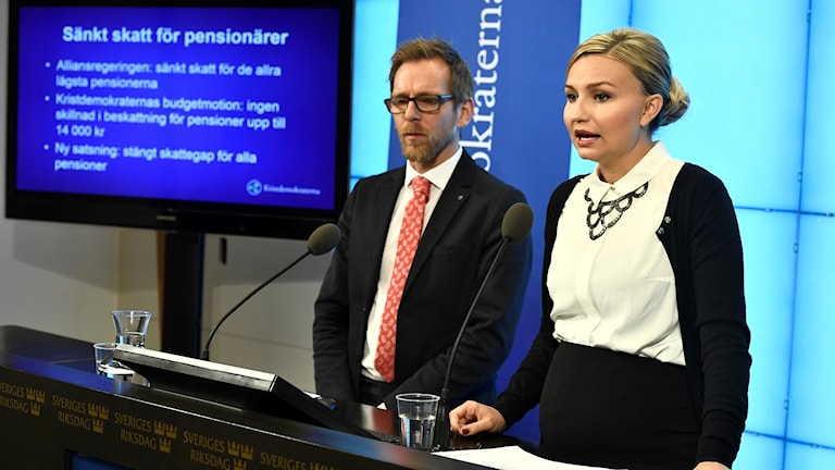 The economic spokesperson Jakob Forssmed snd party leader Ebba Busch Thor