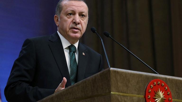 Turkiets president i talarstolen.