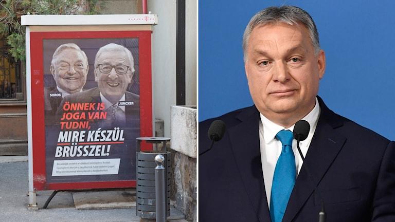 Ungersk poster med George Soros och Juncker
