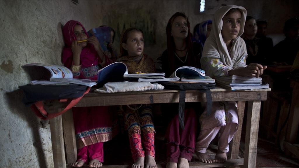 flickor vid skolbänken i Afghanistan