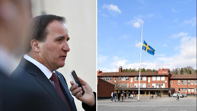 Bildmix: Stefan Löfven och utanför skolan i Skede