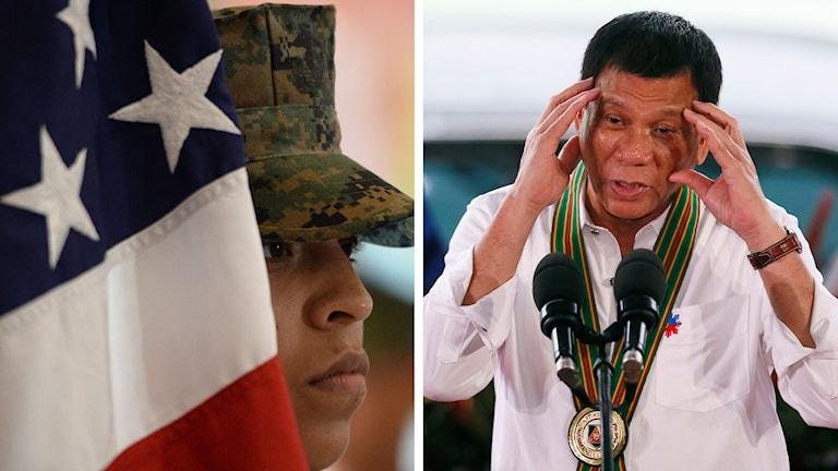 USA:s flagga och President Rodrigo Duterte