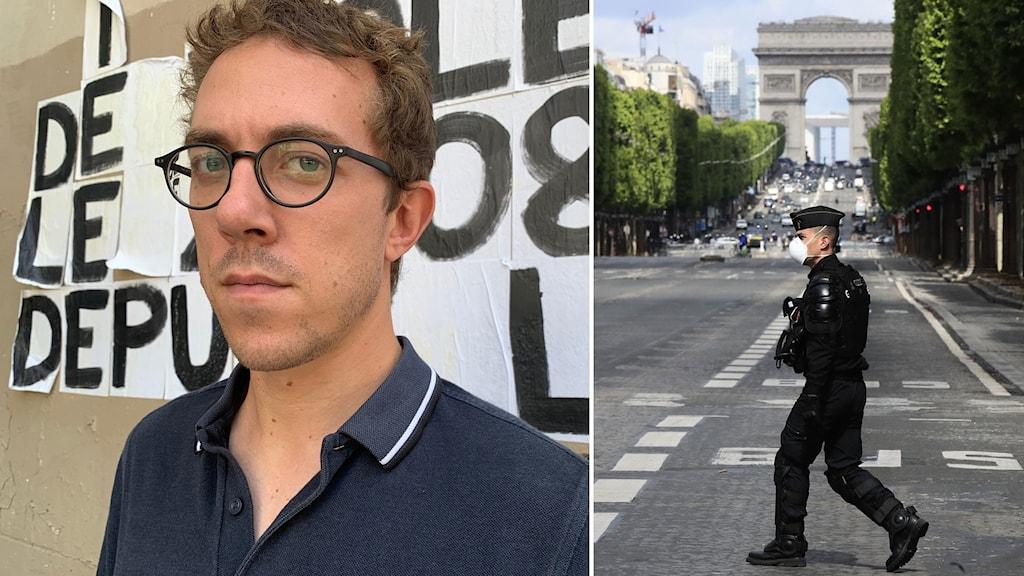 Journalisten Valentin Gendrot och en uniformerad polis vid triumfbågen i Paris.