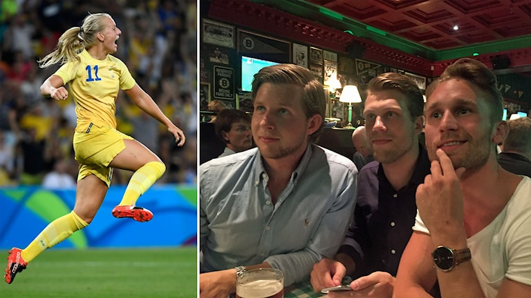 Delad bild: Fotbollsspelare och tre killar som tittar på