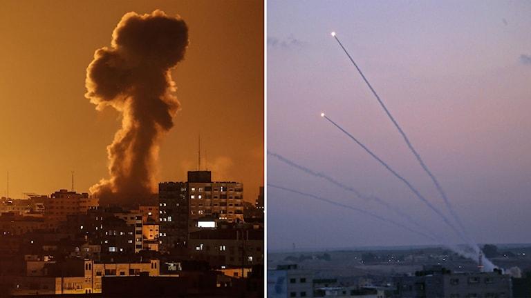 raketanfall mot mål i Gaza