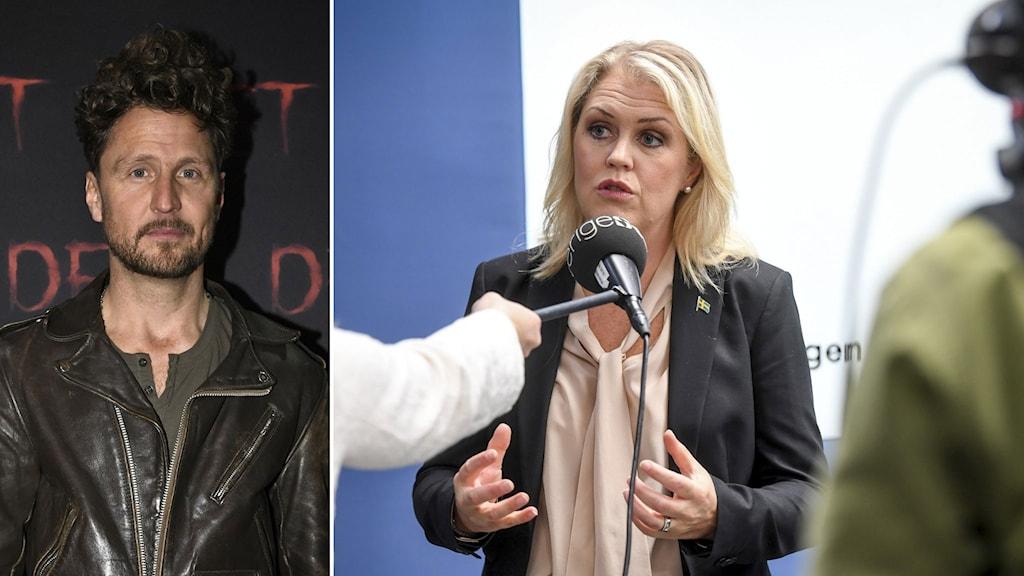 Anders Wendin, mer känd under artistnamnet Moneybrother. Socialminister Lena Hallengren (S).