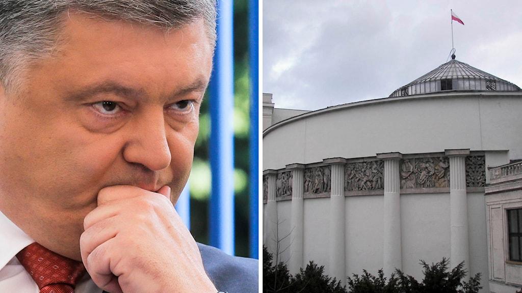 Ukrainas president Petro Porosjenko och parlamentsbyggnaden i Polen.