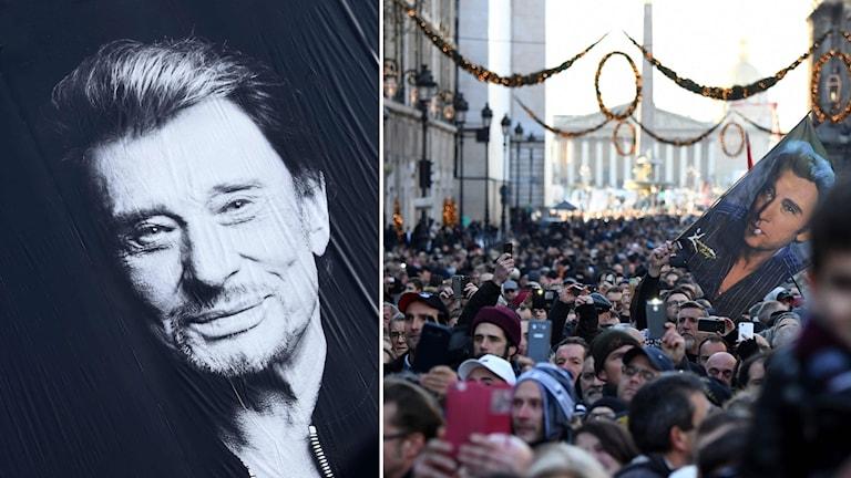 Tusentals har samlats på Paris gator för att hylla musikern Johnny Hallyday i samband med hans begravningskortege.