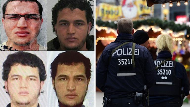En samling av porträttfoton på den misstänkte 24-årige tunisiern Amis Amri som just nu eftersöks av tysk polis.