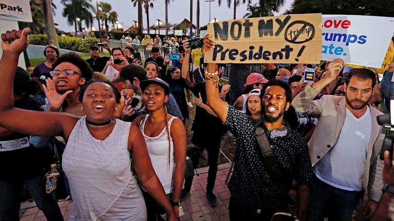 Demonstration mot Donald Trump i Miami.