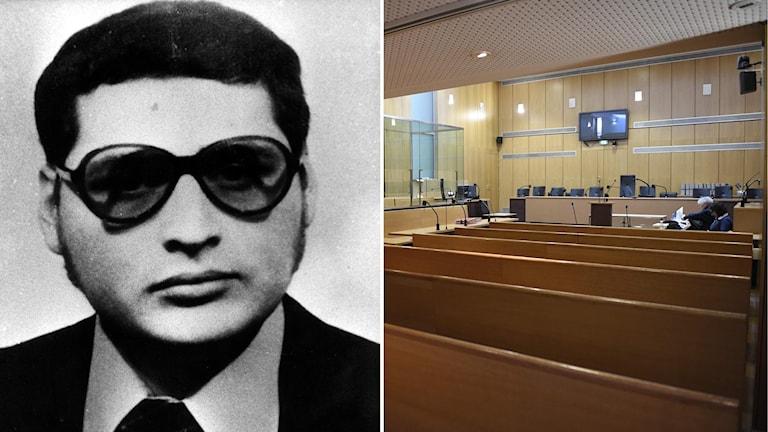 """En gammal svartvit bild livstidsdömda """"Schakalen"""" som ställs inför rätta i Paris"""