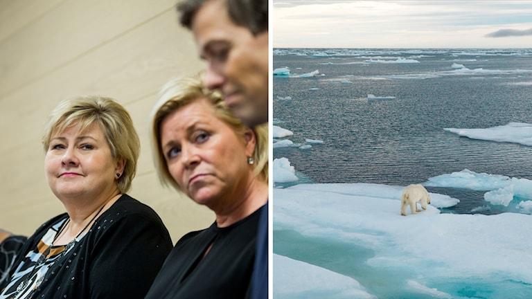 Norska statsministern Erna Solberg, finansministern och FrP-ledaren Siv Jensen, samt KrF-ledaren Knut Arild Hareide.