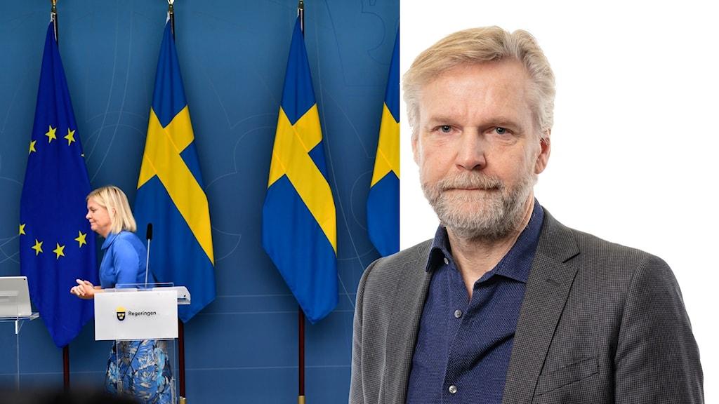Montage med Magdalena Andersson och Ekots politikkommentator Tomas Ramberg