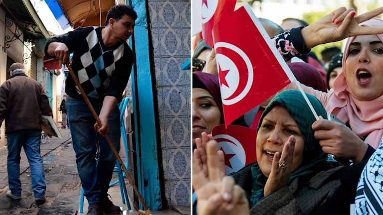 En man som sopar en gata i Tunis och kvinnor som demonstrerar