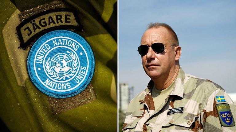 Försvarsmaktens insatschef Jan Thörnqvist och ett FN-märke på en uniform.