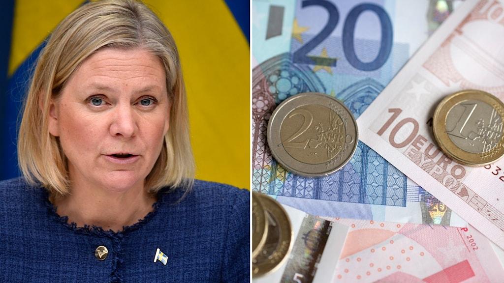 Montage på¨finansminister Magdalena Andersson och eurosedlar och mynt.