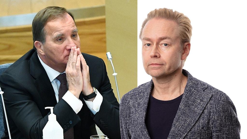 Tvådelad bild med man med brunt hår och kavaj lutar ansiktet mot händerna till vänster och en blond man med grå kavaj till höger.