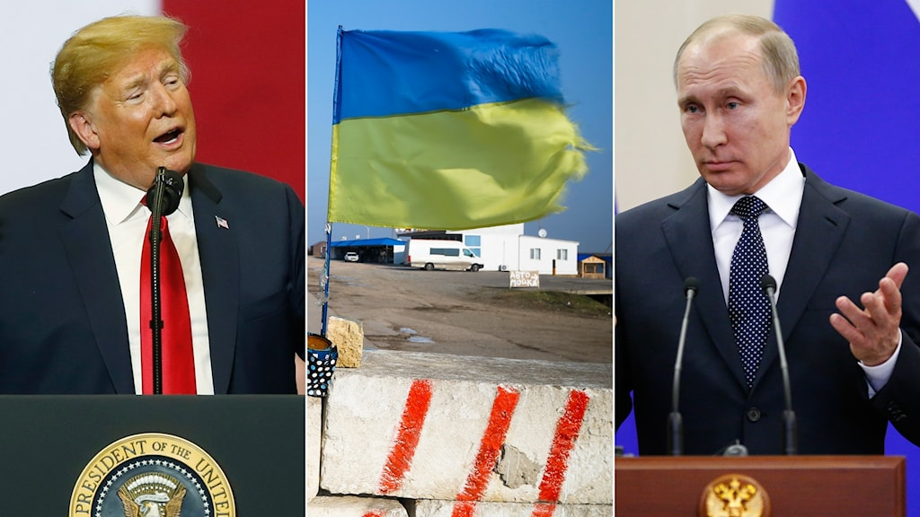 Trump, Ukrainas flagga och Putin
