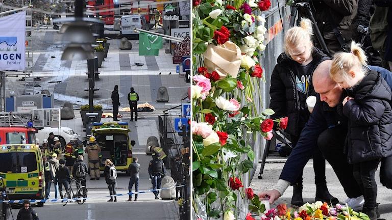 Bild från drottninggatan och man med två barn som lägger blommor dagen efter.