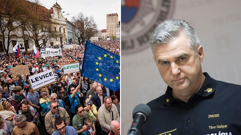 Protester mot Slovakiens högste polischef Tibor Gaspar (till höger).