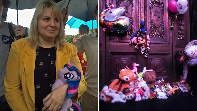 Delad bild: Kvinna med en my little pony-mjukdjur och en kraftig dörr med tjugotalet gosedjur framför