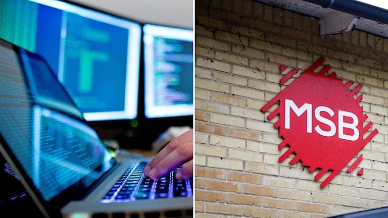 montage på en dator och MSB-skylt.
