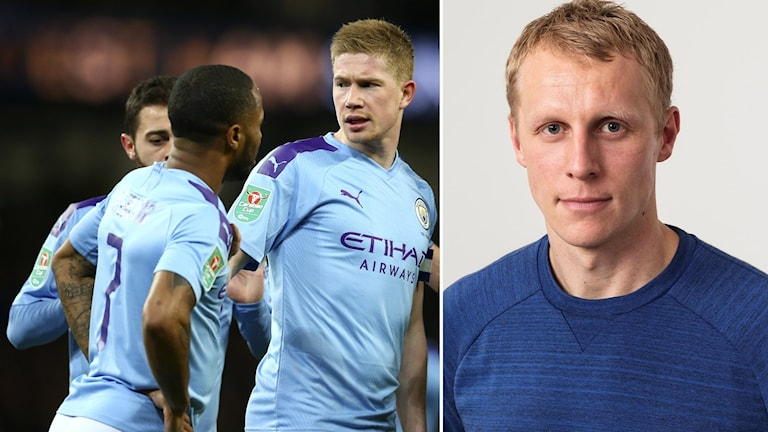 Bildsplit på spelare i Manchester City och Radiosportens fotbollsexpert Richard Henriksson.
