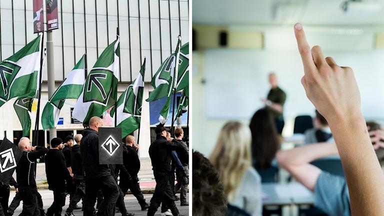 Två bilder: Nazister demonstrerar och ett klassrum.