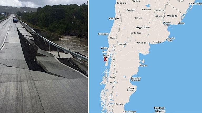 Delad bild: En bro som har förstörts av jordbävningen, samt en karta över Chile.