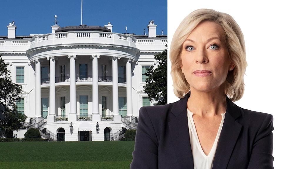 Delad bild. Vita huset i USA. Ekots USA-kommentator Ginna Lindberg.