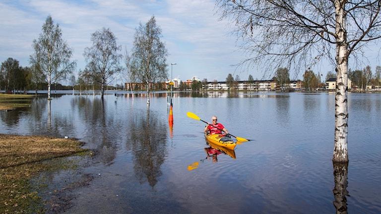 En man paddlar kanot på en gångbana