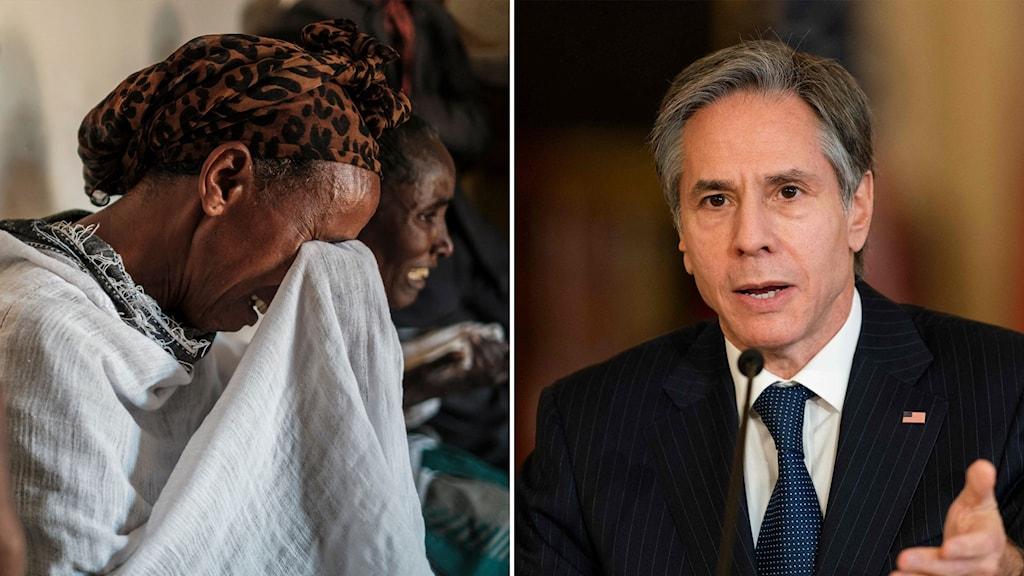 gråtande kvinna och USA:s utrikesminister