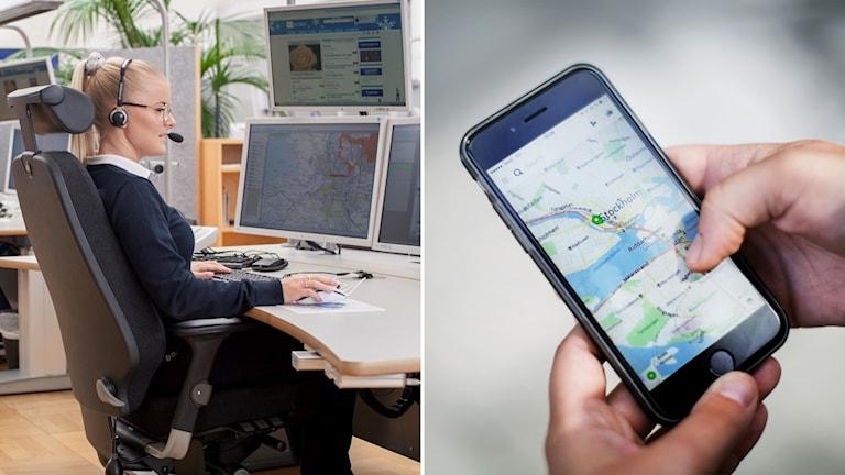 Delad bild: SOS Alarm-operatör och en mobiltelefon med en kartapp.