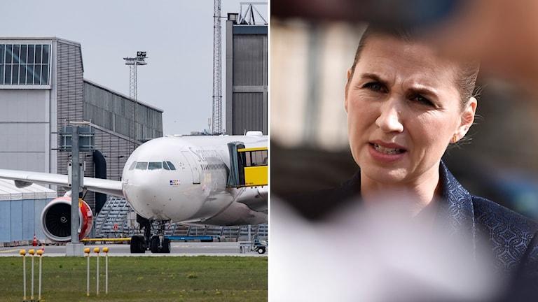Bild på Kastrups flygplats till vänster och Danmarks statsminister Mette Frederiksen till höger.