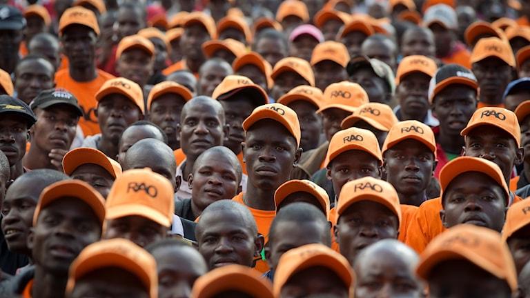 Anhängare till oppositionen har samlats i en park i Nairobi.