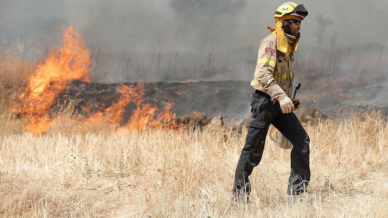 Brandman framför markbränder.