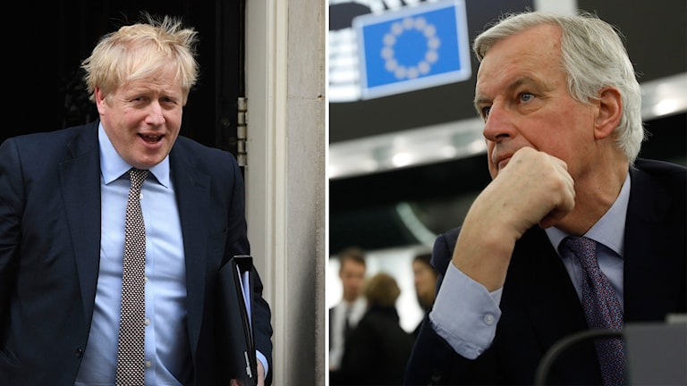 Storbritanniens Premiärminister Boris Johnson och EU:s chefsförhandlare Michel Barnier.