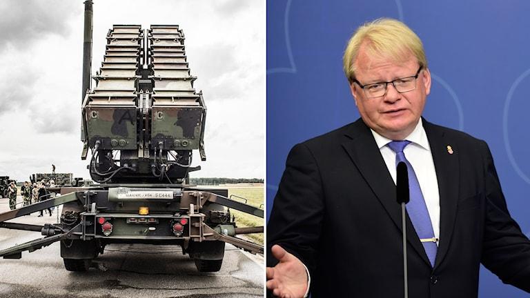 Försvarsminister Peter Hultqvist (S) och Luftvärnssystemet Patriot