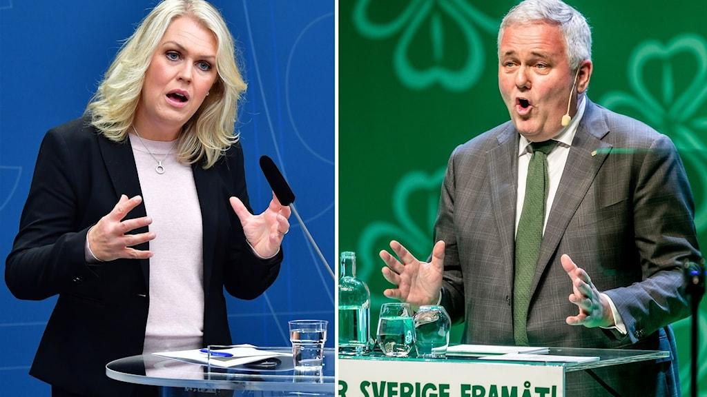 Socialminister Lena Hallengren och Centerpartiets vikarierande partiledare och socialpolitiske talesperson Anders W Jonsson.