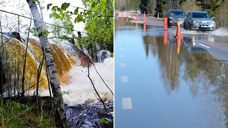 Delad bild: Vattenfall vid lövsprickning, en översvämmad väg.