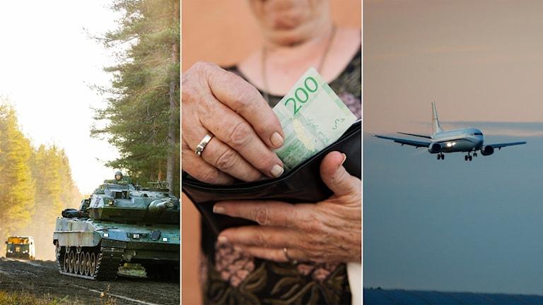 Tredelad bild: Stridsvagn, äldre kvinna som tar en sedel ur en plånbok, flygplan som landar.