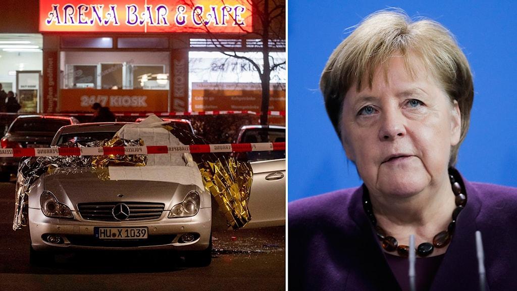 Bil bakom avspärrning och Tysklands förbundskansler Angela Merkel.