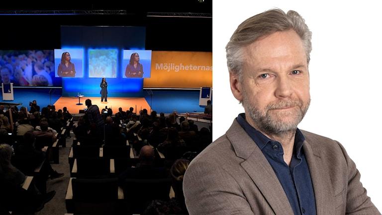 Montage. Nyamko Sabuni talar under Liberalernas landsmöte, och Ekots inrikespolitiska kommentator Tomas Ramberg.