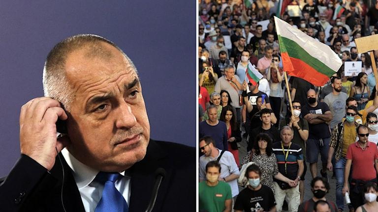 Bulgariens premiärminister Bojko Borísov och demonstranter.