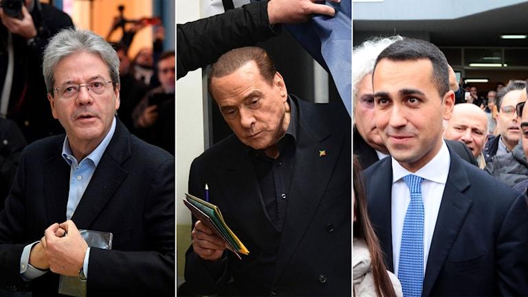 Demokratiska partiets Paolo Gentiloni, den tidigare premiärministern Silvio Berlusconi och ledaren för Femstjärnerörelsen Luigi di Maio
