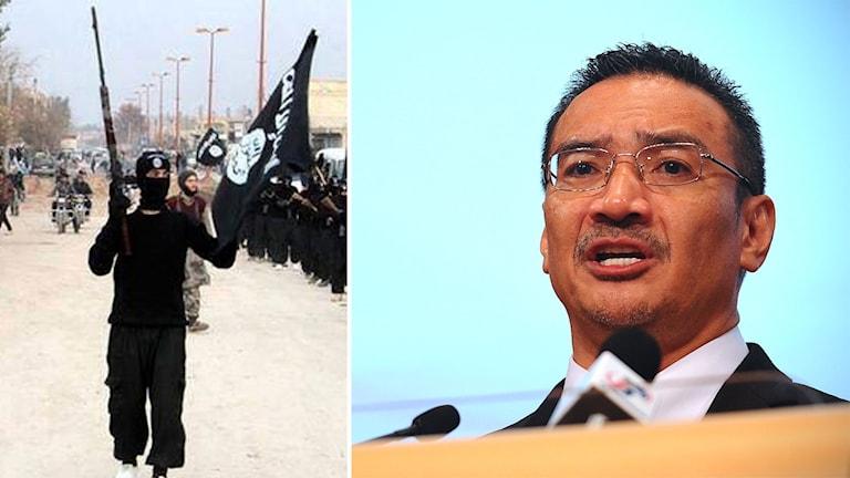 Bildmontage av en arkivbild på en IS-krigare samt Malaysias försvarsminister Hishammudin Hussein.